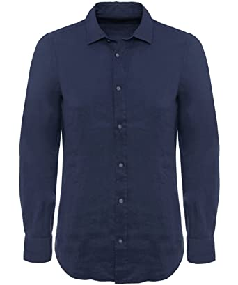 1a745c7c Amazon.com: Hugo Boss Black Men's Lukas Regular Fit Pure Linen Blue ...