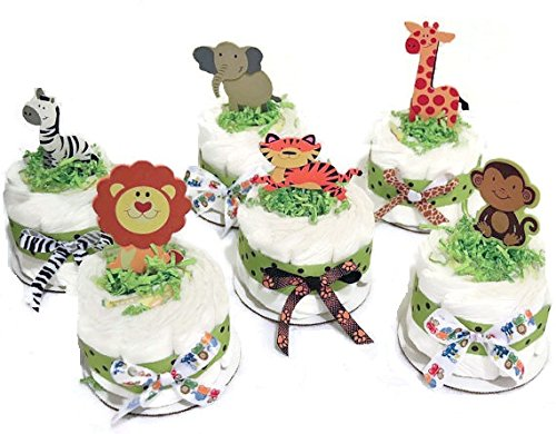 - Set of 6 Jungle Safari Diaper Cake Baby Shower Centerpieces - Elephant, Zebra, Tiger, Lion, Monkey and Giraffe