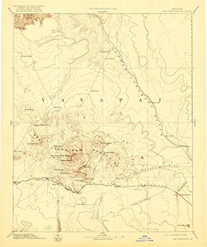 San Francisco Mtns AZ topo map, 1:250000 scale, 1 X 1 Degree, Historical, 1899, updated 1922, 19.8 x 16.6 IN - Paper Wolf Kachina