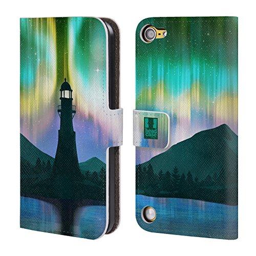 Head Case Designs Faro Sul Mare Luci Del Nord Cover a portafoglio in pelle per iPod Touch 5th Gen / 6th Gen