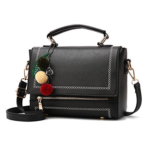 Luckywe Mujeres Bolso De Elegante Con Asas Y Bandolera Multicolor Bolso De Asas Boston Messenger Bag Negro
