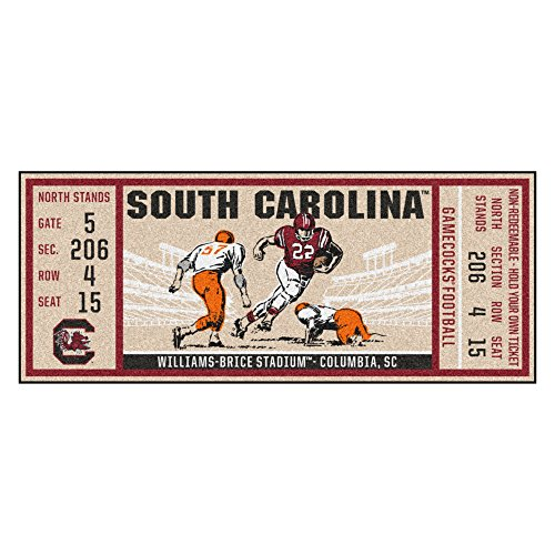 NCAA University of South Carolina Gamecocks Ticket Non-Skid Mat Area Rug Runner ()