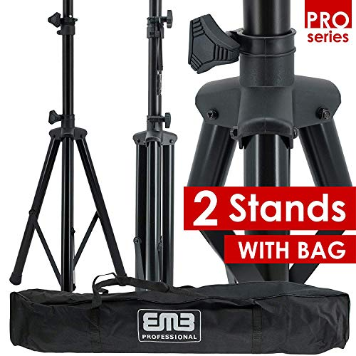 Pair of EMB Pro Heavy Duty Tripod DJ PA Speaker Stands Adjustable Height Stand with Bag Included