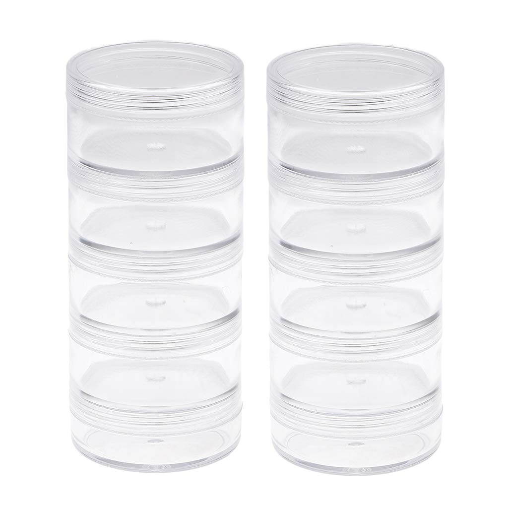Baoblaze 2 Pack 5 Layer Round Stackable Transparent Plastic Storage Container Jar Organizer Box with Screw Lid for Beads Crafts Small Items Jewelry Findings