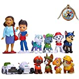 12pcs Paw Dog Patrol Cake Topper - Deluxe Mini Figures Set - Birthday Party Supplies Cupcake Figurines with Keychain