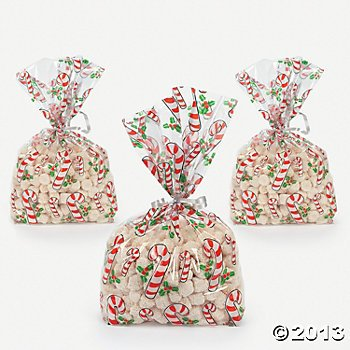 72 Christmas Candy Cane Cellophane Goody Bags