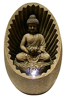 Alpine WIN322 Buddha Tabletop Fountain with LED Light