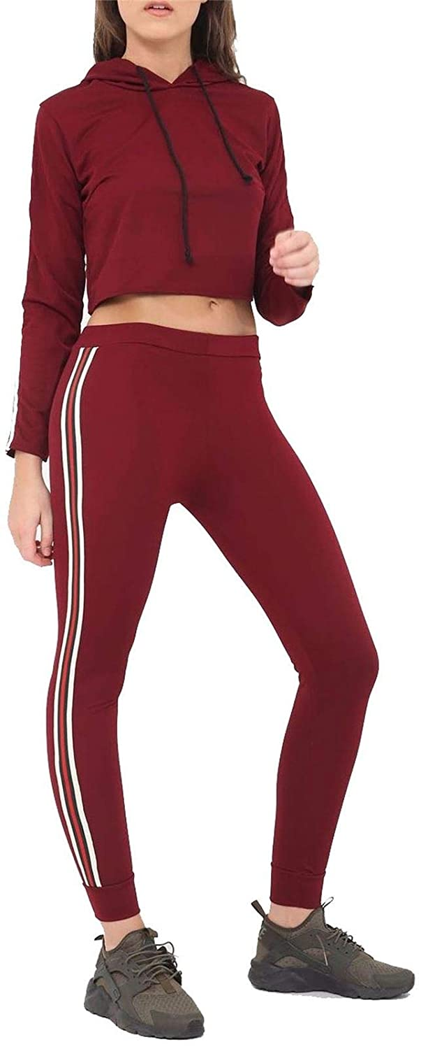Ladies 2 Side Stripe Leggings Women Gym Stretchy Skinny Pants Trouser 8-14