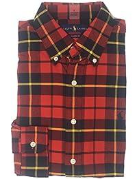 Men's Long Sleeve Oxford Button Down Shirt RedBlade-S