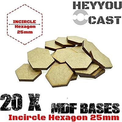 GRENFAS ( Set of 20 Pcs -MDF Bases - 25mm Incircle Hexagon Bases- Basing Laser Cut Wargames Wood: Toys & Games