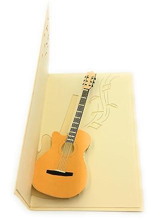 Guitarra eléctrica 3d tarjeta de felicitación - Ideal para músicos, Rockstars y amantes de la música: Amazon.es: Oficina y papelería