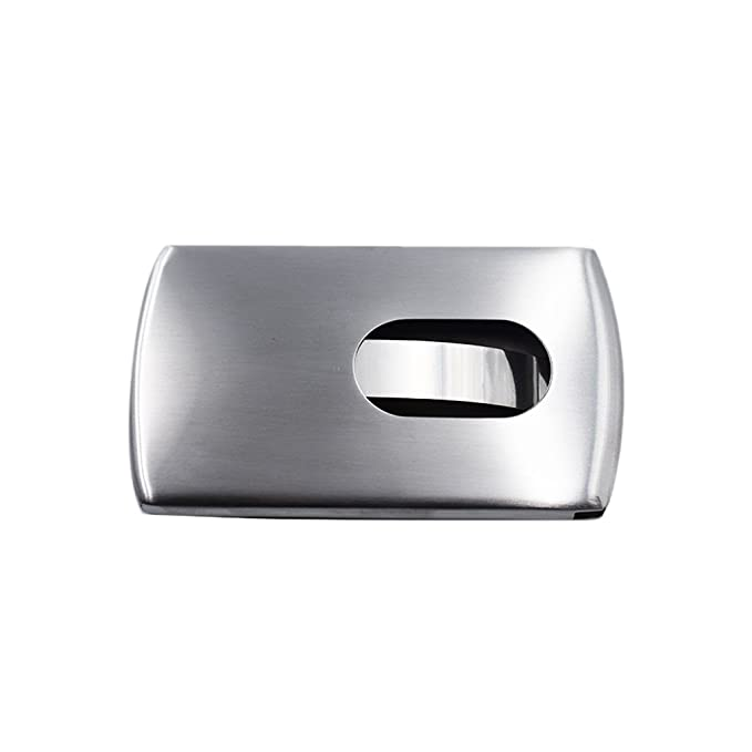 kcopo Acero Inoxidable Negocio Tarjeta de Crédito Soporte Bolsa Thumb Slider tarjeta de nombre bolsillos Tarjetas de Visita Box Dispensador funda mate: ...