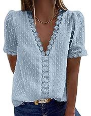 isermeo Womens Summer Tops Short Sleeve Shirts Blouses Vintage Elegant V Neck Polka Dot Tunic S-XXL