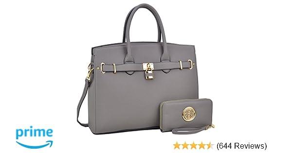 Amazon.com  DASEIN Women s Purses and Handbags Shoulder Bags Ladies  Designer Tote Bags Padlock Satchels with Wallet  Shoes 96cbd05f2cb56