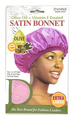 Donna Collection Olive Oil Treatment Vitamin E Treated Satin Bonnet Extra Large Pink Pink Bonnet
