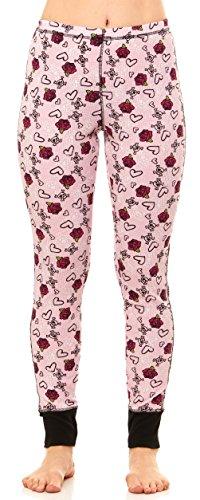 Women's Thermal Sleepwear Pajama Waffle Bottom Pants (Large, Light Pink - Heart & - Pink Flower Heart