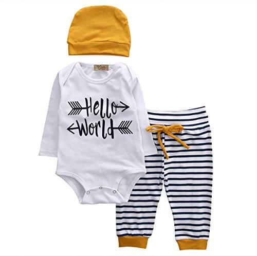 Newborn Baby Boy Girl Clothes Hello World Long Sleeve White Romper Bodysuits Tops Stripes Legging Pants+Hat 3PCS Outfits Set (White, 0-3 Months)]()
