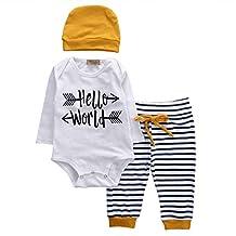 Infant Boy Girl 3pcs Suit Long Sleeve Hello World Romper+Striped Pants+Hat
