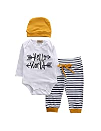 Infant Boy Girl 3pcs Suit Long Sleeve Hello World Romper+Striped Pants+Hat