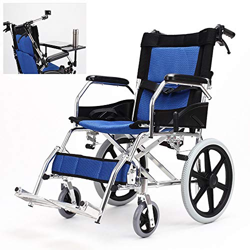 ZZYYZZ Folding Wheelchair, Ultralight and Portable Travel Transport Chair with Dining Table and Umbrella Stand
