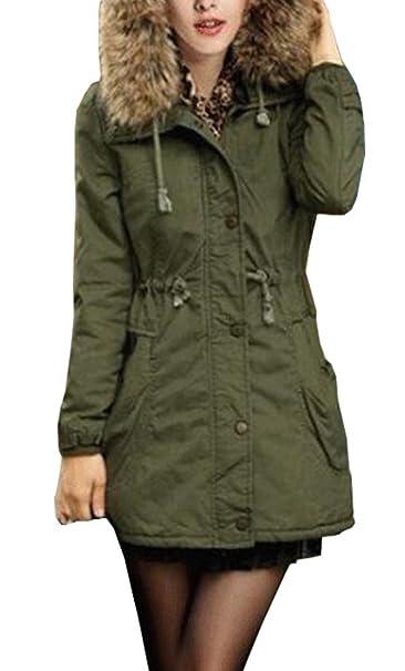Yeesea Mujer Abrigos Largos de Piel con Capucha de Chaqueta de Invierno Parka Outwear Jacket Mantel: Amazon.es: Ropa y accesorios