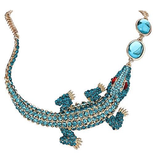 EVER FAITH Gold-Tone Crocodile Necklace Pendant Blue Austrian Crystal