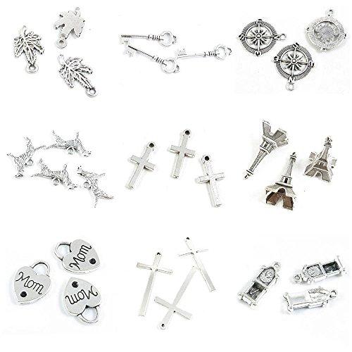 (28 PCS Jewelry Making Charms Grandfather Clock Latin Cross Mom Love Lock Eiffel Tower Christ Whippet Dog)