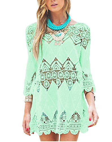 GDKEY Women's Beach Wear Bikini Cover Up Crochet Tunic Dress(XL,Green)