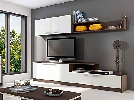 Abitti Mueble Modular de Comedor o salón de 240cm en Color wengue y Blanco.: Amazon.es: Hogar