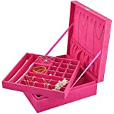 Opret Jewelry Organizer with Lock, Two-Layer Lint Jewelry Box Jewelry Storage Case for Girls and Women (Rose)