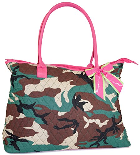 Ever Moda Quilted Pink Green Camouflage Over Night Travel Tote - (Camo Purses Cheap)