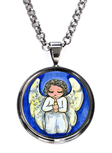 (Guardian Angel Protection Gunmetal Pendant with Chain Necklace)