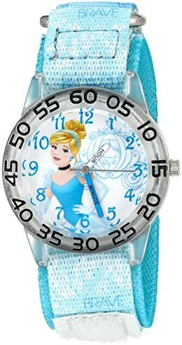 Disney Girl's 'Cinderella' Quartz Plastic and Nylon Automatic Watch, Color:Blue (Model: W002932)