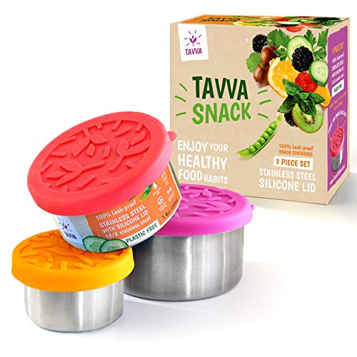 Stainless Steel Food Containers With Leakproof Silicone Lids - Set of 3 by Tavva Kitchen