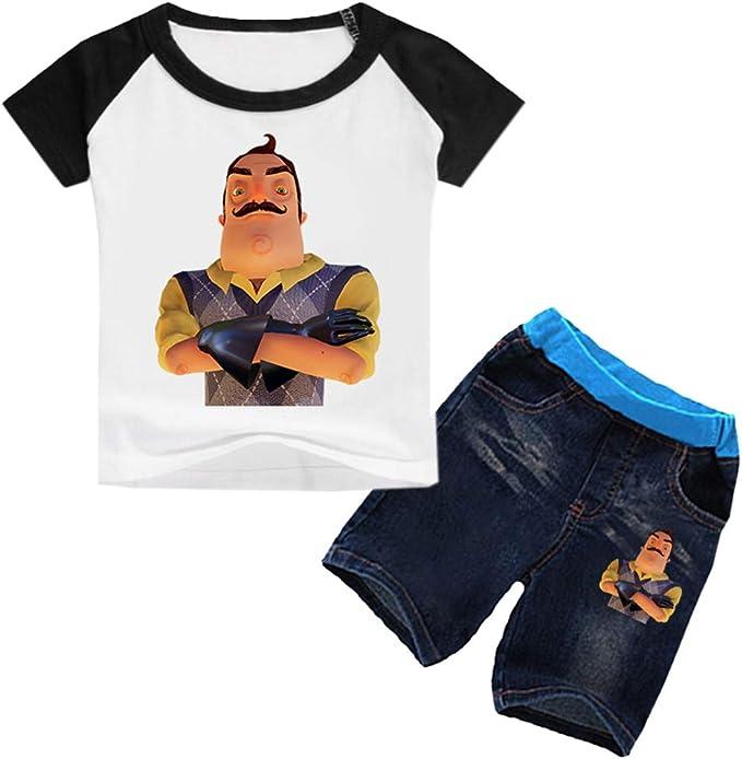 MNmkjgfgj Unisex Hello Neighbor Camisetas Camiseta for niños + Pantalones Cortos de Mezclilla Tops de impresión Camiseta Casual Pantalones Cortos de Moda for niños: Amazon.es: Ropa y accesorios