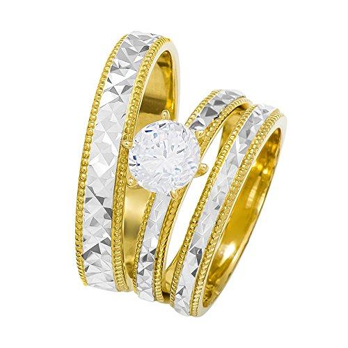 (14k Two Tone Gold Round Cubic Zirconia Bridal Wedding Trio Ring Set (1.0 cttw) - Style 28)