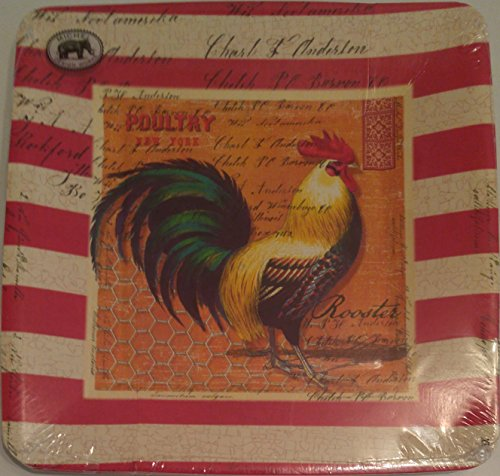 Michel Design Works Luncheon/Dessert Paper Plates, 8 Count, Rooster Rooster Dessert