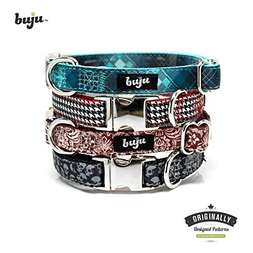 Buju Dog Collar Skulls Black - Small Dogs and Cats - Unique Fancy Designer Dog or Cat Collars with Metal Chrome Buckle. Adjustable 11 to 18 inches ⅝ inch wide - Bling Retro Pet Accessories