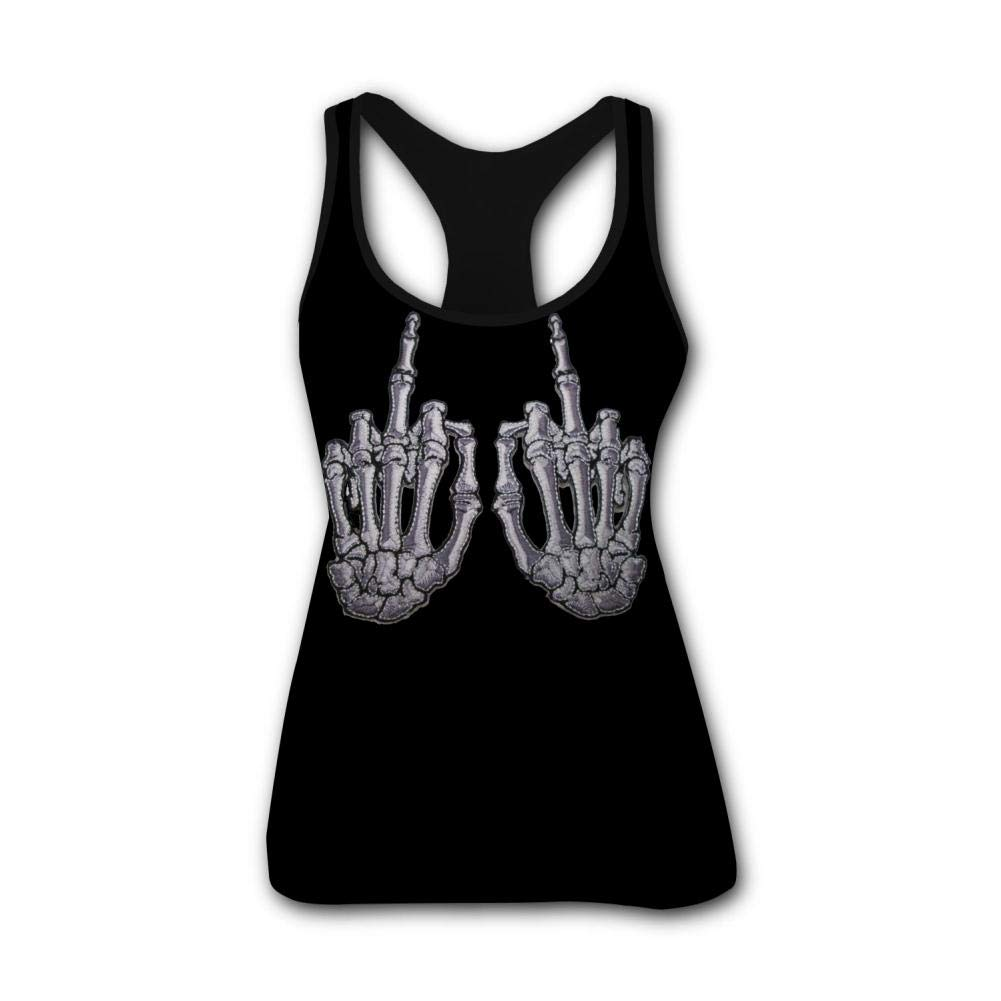 2018 Women Summer 3D Printed Skelli Hand Finger Bone Patch Pair White Racerback Sleevelesss Vest Tank Tops Yoga T Shirt SLWO
