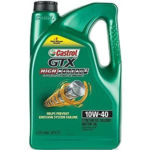 Castrol 03111 GTX High Mileage 10W-40 Synthetic Blend Motor Oil, 5 Quart