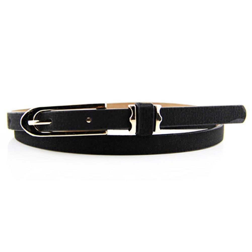 Polytree Women's PU Leather Thin Buckle Belt (Black)