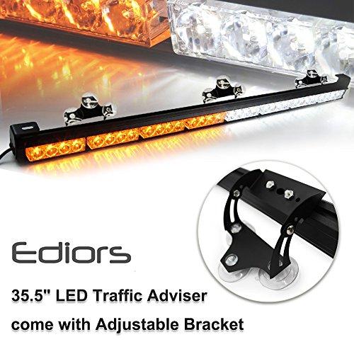 Ediors 35.5 32 LED Emergency Traffic Advisor Flash Hazard Strobe Light Bar With Large Suction Cups Warning Amber/White