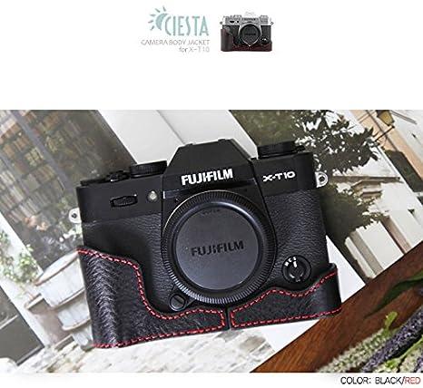 Ciesta Funda de piel mitad para Fujifilm Fuji X-T10 XT10 negro ...