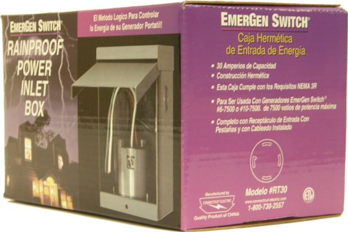 Connecticut Electric EGSRT30 EmerGen Switch Power Inlet Box for 30-Amps Generator ()