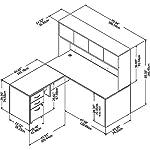 Bush Business Furniture Studio C Collection Desk, Return, Hutch and 3 DWR Mobile Pedestal, Platinum Gray