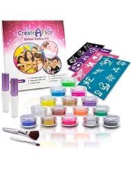 Glitter Tattoo Kit - Body Glitter - Face Glitter Makeup (15 X-Large Pots, 6 UV Reactive, 32 Cool Tattoos Stencils, 2 Glitter Glue Applicator, 2 Cosmetic Brushes) Great Gift for Girls - FDA Compliant