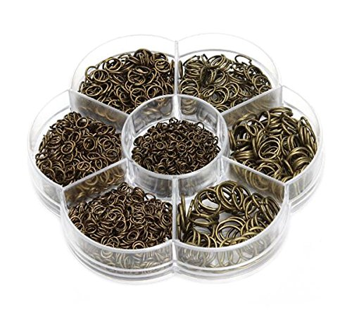 Diy Ring Box (1450 Pcs Bronze Open Circle Jump Rings - 1 Box 3mm 4mm 5mm 6mm 7mm 8mm 10mm Metal Monocyclic Manual Connection Ring for DIY Handicraft Accessories)