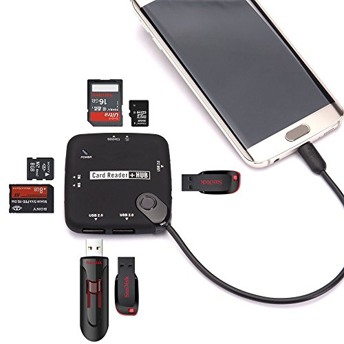 TraderPlus 7 in 1 Mobile Phone OTG Adapter Cable Micro USB 2.0 Hub SD Card Reader TF SDHC MemoryStick M2 by TRADERPLUS (Image #3)