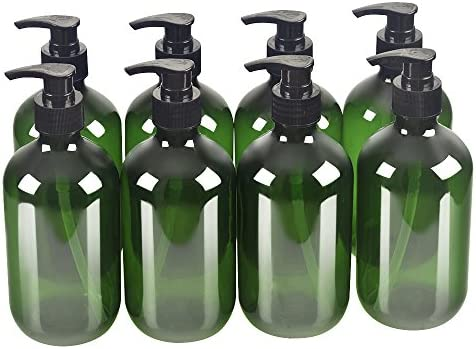 8 Pack Green 500ml 16.7oz Empty Plastic Pump Bottles.Refillable Bottle for Cooking Sauces,Essential Oils,Lotions,Liquid Soaps or Organic Beauty Products 8 Chalkboard Labels as gift