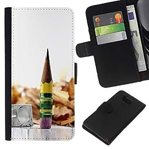 All Phone Most Case / Oferta Especial Cáscara Funda de cuero Monedero Cubierta de proteccion Caso / Wallet Case for Samsung ALPHA G850 // pencil graphite metal wood
